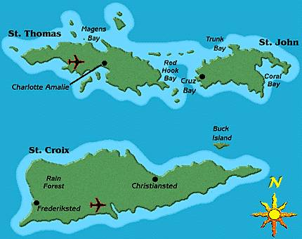 map of us virgin islands st thomas map